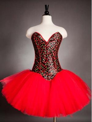 Red Burlesque Corset Short Dress