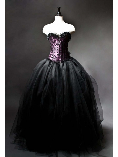 Purple and Black Gothic Burlesque Corset Prom Gown