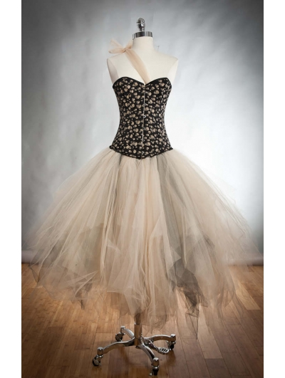 Black and Ivory Gothic Burlesque Corset Prom Dress