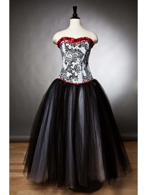 Black Romantic Gothic Corset Prom Party Gown