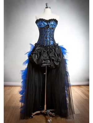 Blue and Black Gothic Burlesque Corset High-Low Party Dress