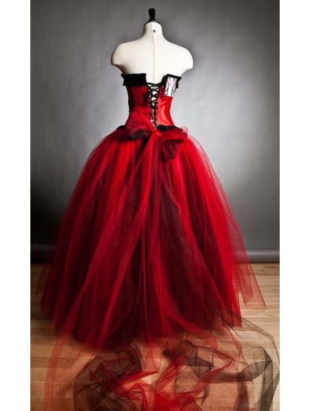 Red and Black Romantic Gothic Corset Prom Gown - Devilnight.co.uk