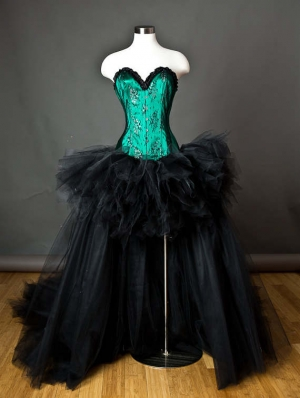 Green and Black Romantic Gothic Burlesque Corset High-Low Prom Dress