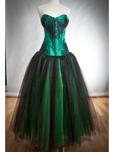Green and Black Romantic Gothic Corset Prom Gown
