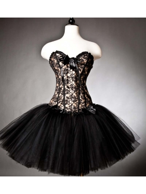Black Lace and Tulle Gothic Burlesque Corset Prom Party Dress