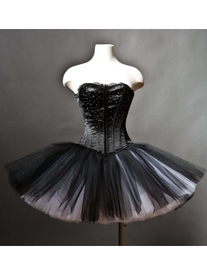 Black Gothic Corset Burlesque Prom Party Dress