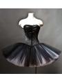 Black Gothic Corset Burlesque Prom Party Dress