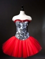 Red and Black Short Burlesque Corset Prom Party Dress