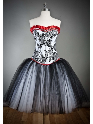 Red and Black Gothic Corset Burlesque Prom Party Dress