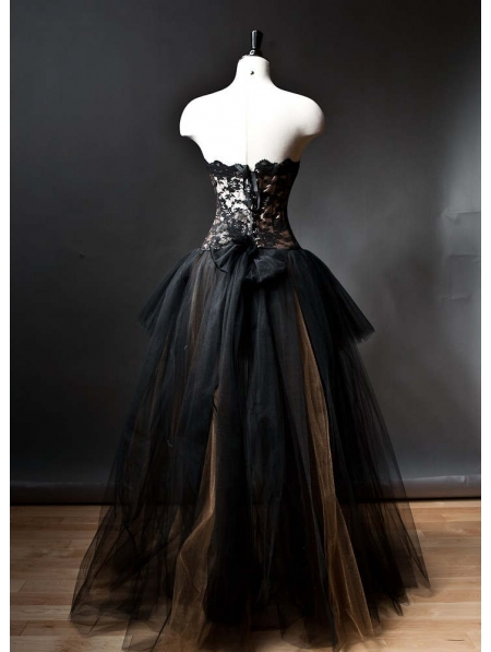 Alternative Fashion Black Romantic Gothic Corset High-Low Prom ...