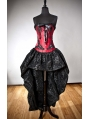 Red and Black Gothic Corset Burlesque High-Low Prom Party Dress