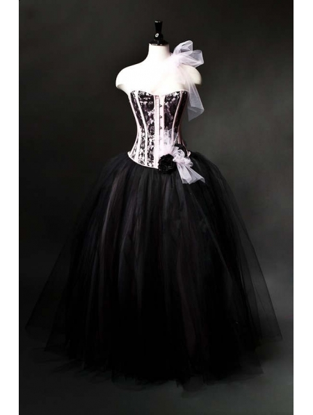 Pink and Black Romantic Gothic Corset Burlesque Prom Gown