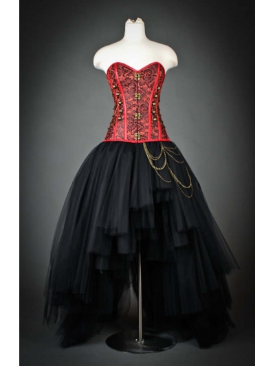 Red and Black Gothic Steampunk Corset High-Low Prom Party Dress