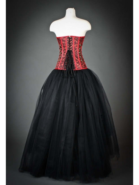 f14feb3a97d Red and Black Gothic Steampunk Corset High-Low Prom Party Dress ...