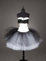 White and Black Romantic Gothic Corset Burlesque Prom Party Dress
