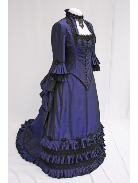 Blue Taffeta Victorian Bustle Ball Gown