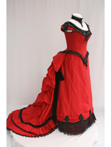 Red Satin Short Sleeves Victorian Bustle Ball Gown