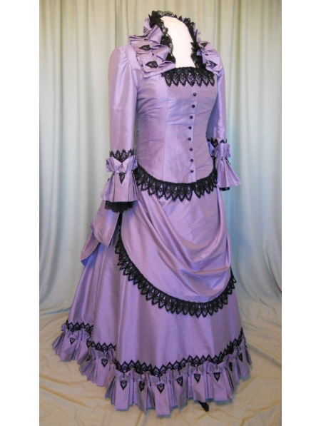 Purple Taffeta Victorian Bustle Ball Gown