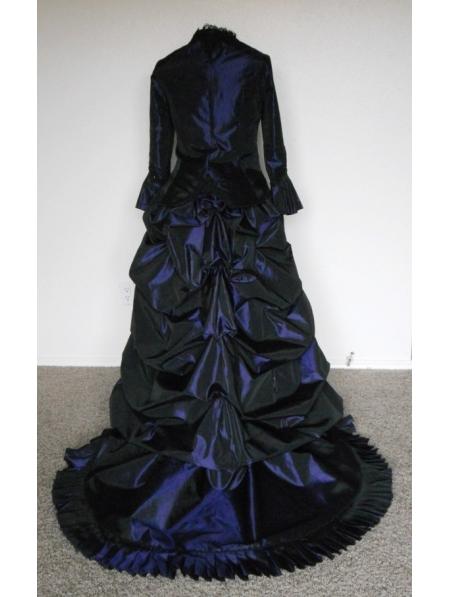 Navy Blue Taffeta Sequin Victorian Bustle Ball GownVictorian Bustle