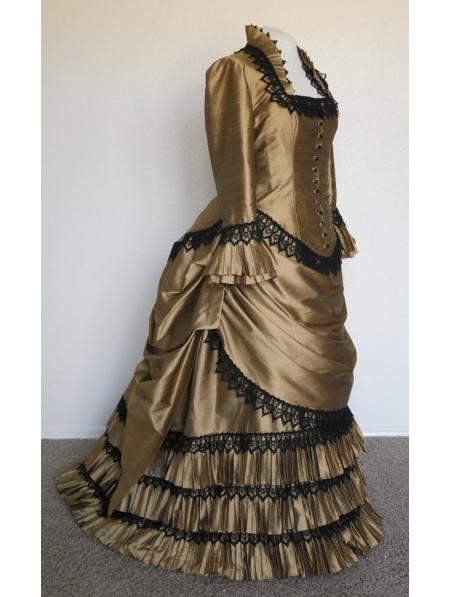 Champagne Taffeta Victorian Bustle Ball Gown