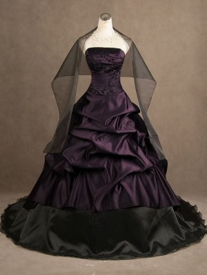 Purple Strapless Gothic Wedding Dress