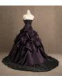 Purple Strapless Gothic Wedding Dress