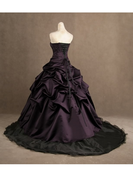 Purple strapless gothic wedding dress for Wedding dress display at home