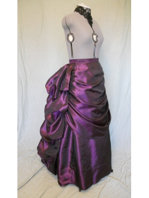 Purple Taffeta Victorian Bustle Skirt