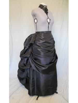Black Taffeta Victorian Bustle Skirt