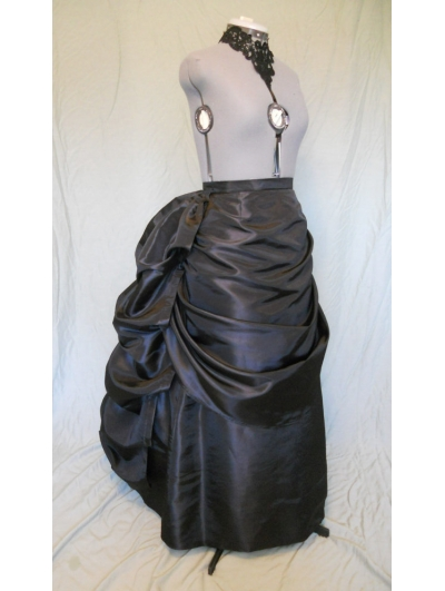 Black Taffeta Victorian Bustle Skirt