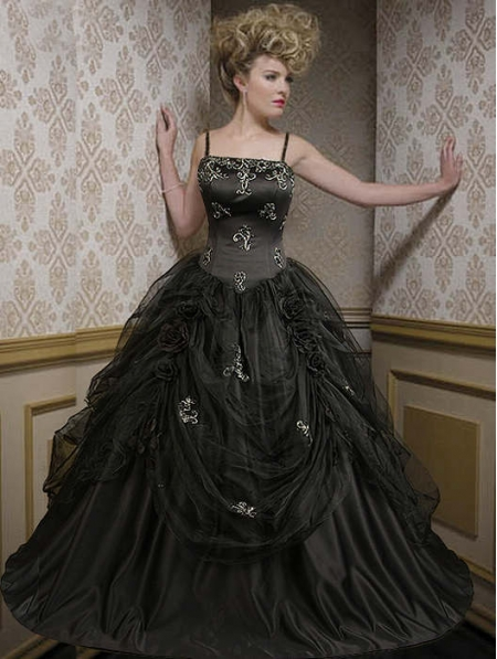 Black Spaghetti Straps Taffeta Gothic Wedding Dress