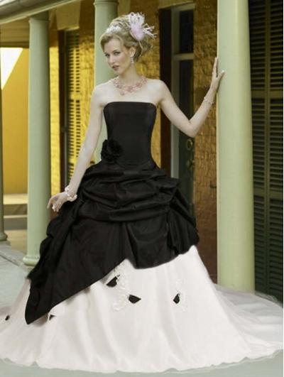 Black and White Taffeta Simple Elegant Gothic Wedding Dress