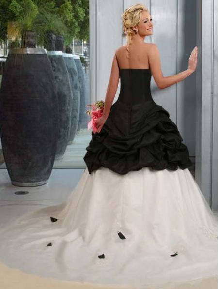 wedding black white taffeta simple elegant gothic dress