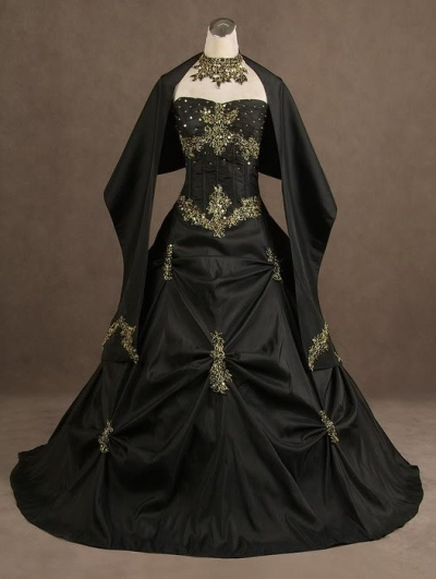 Black Strapless Gothic Wedding Dress