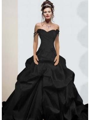 Black Off-the-Shoulder Simple Gothic Wedding Dress