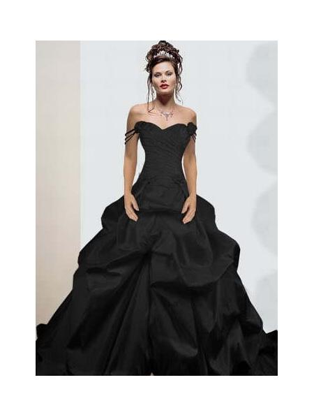 Black off the shoulder simple gothic wedding dress for Black gothic wedding dress