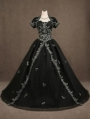 Black Gothic Wedding Dress with Short Jacket