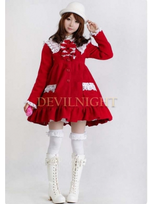 Sweet A-Line Princess Bow Winter Lolita Coat