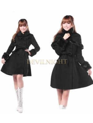 Black Classic Winter Lolita Cape Coat