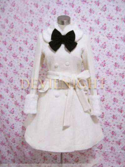 White Elegant Winter Lolita Coat