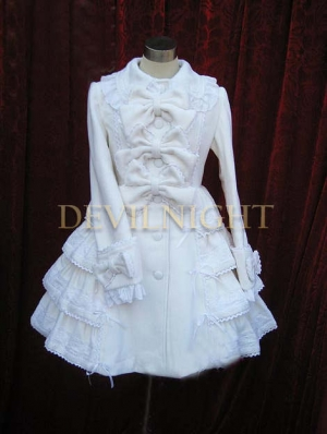 White Sweet Princess Bow Winter Lolita Coat