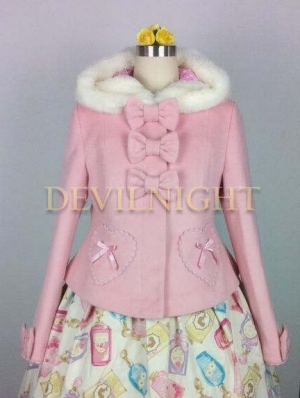 Pink Sweet Princess Short Winter Lolita Hooded Coat