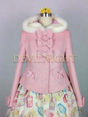 Pink Sweet Princess Short Winter Lolita Hooded Coat