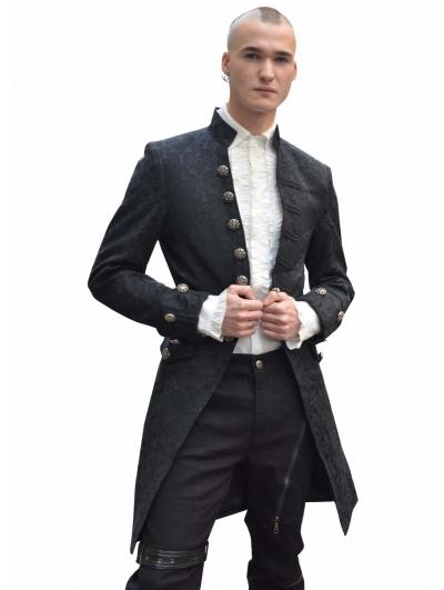 Black Alternative Pattern Gothic Coat for Men