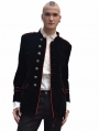 Black and Red Military Style Gothic Coat for Men
