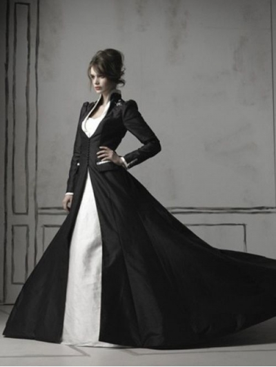 Black and White Long Sleeves Gothic Wedding Dress