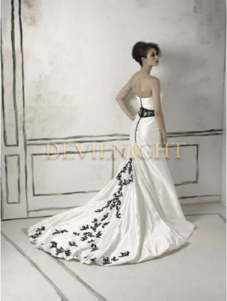 Black and White Long Sleeves Gothic Wedding Dress - Devilnight.co.uk
