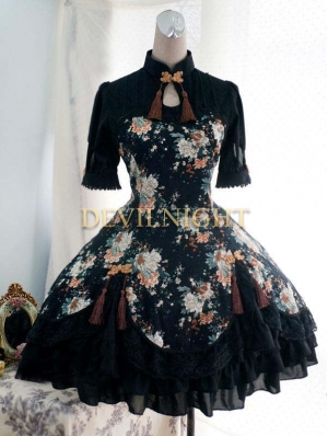 Floral Pattern Short Sleeves Lolita Dress