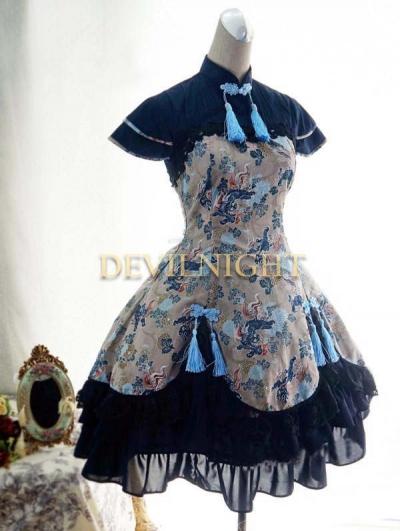 Chinese Style Pattern Short Sleeves Lolita Dress