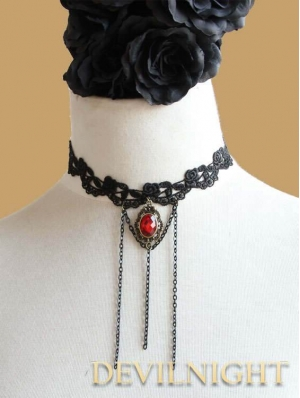 Black Lace Red Pendant Vampire Gothic Necklace